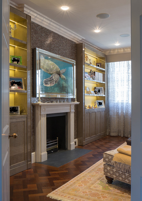 Fusion Mirror TV With Mirrored Frame with Silver Leaf Trim