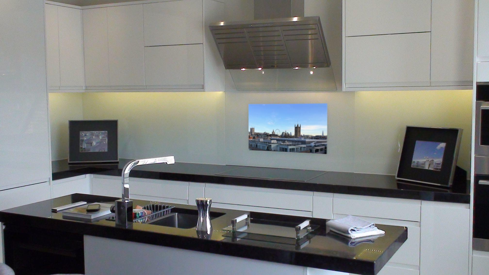 White Glass Kitchen Splash Back TV - TV On